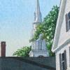 "Main Street Steeple  Watercolor, 6"" x 4"""